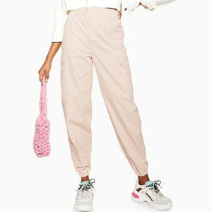 TOPSHOP Cuffed Pink Utility Jeans High Rise Pants